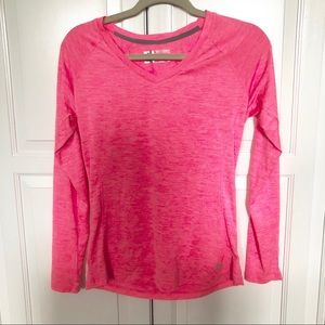 RBX Hot Pink Long Sleeve V Neck Athletic Top